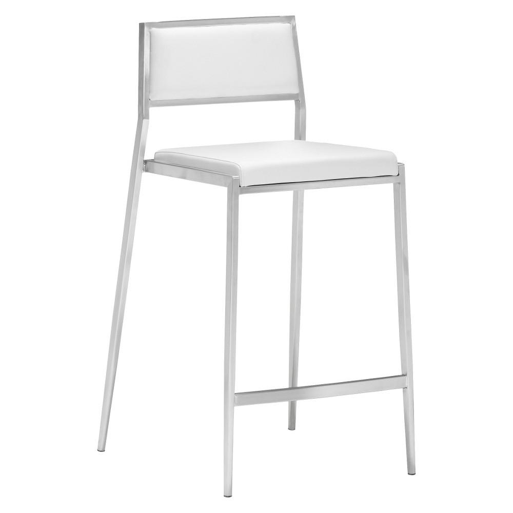 Sleek Minimalist 26 Counter Chair - White (Set of 2) - ZM Home