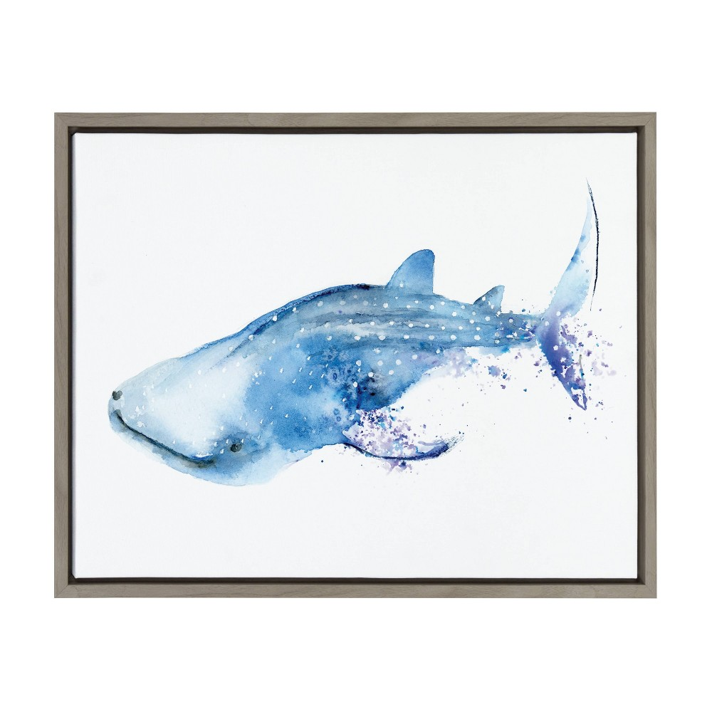 """Image of """"18"""""""" x 24"""""""" Sylvie Whale Shark Framed Canvas Wall Décor By Cathy Zhang Gray - Kate and Laurel, Blue"""""""