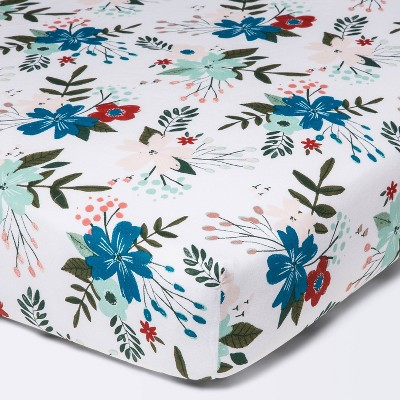 Fitted Crib Sheet Meadow - Cloud Island™ - White/Pink/Blue Floral