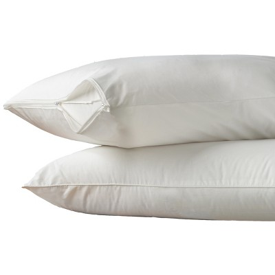 Hot Water Washable Pillow Protector 2 pack White (King)- AllerEase