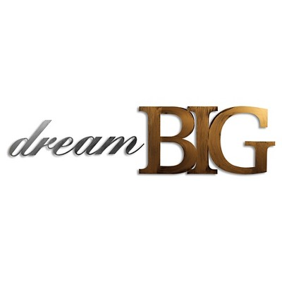 "11""x44"" Hand Painted 3D Wall Sculpture Dream Big Gold and Nickel- Letter2Word"