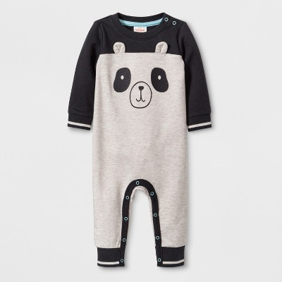 Baby Boys' Long Sleeve Romper with Big Panda Face - Cat & Jack™ Gray 0-3M