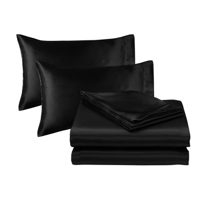 Queen Solid Satin Sheet Set Black - Posh Home
