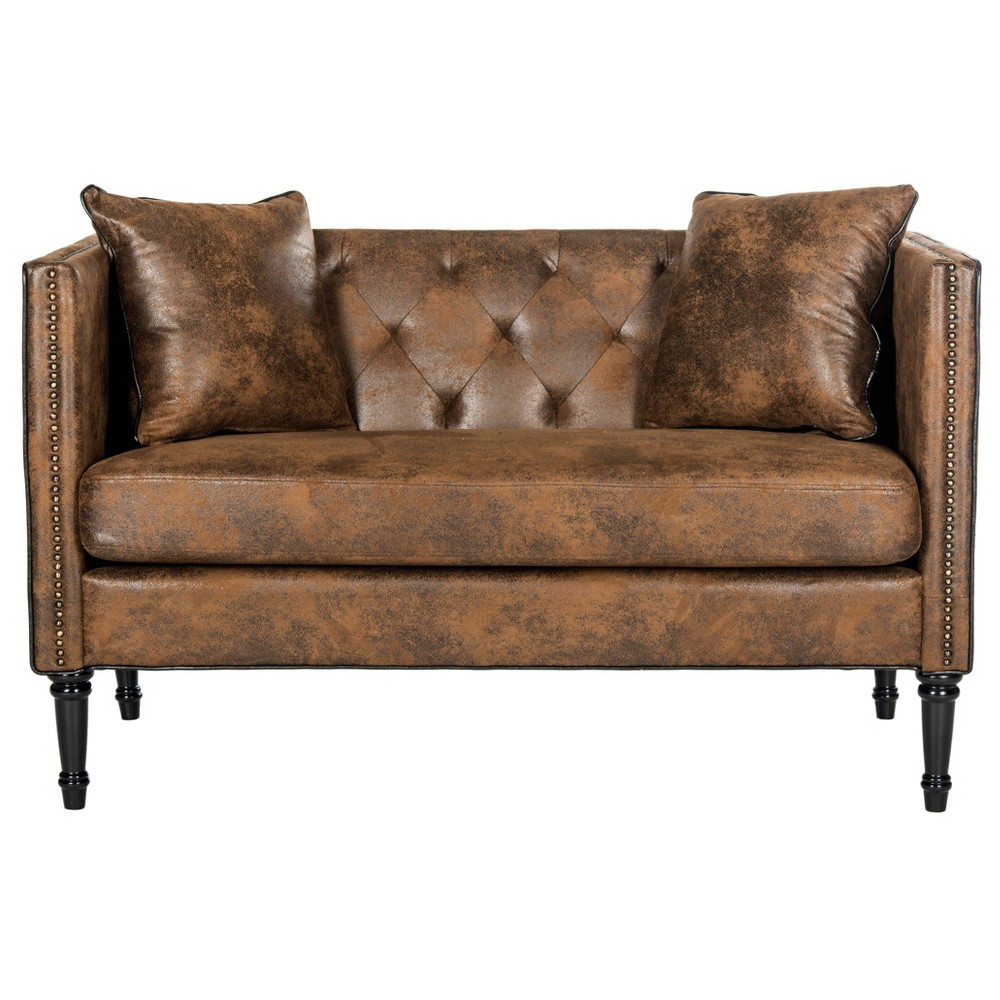 Sarah Tufted Settee With Pillows Coffee (Brown) - Safavieh