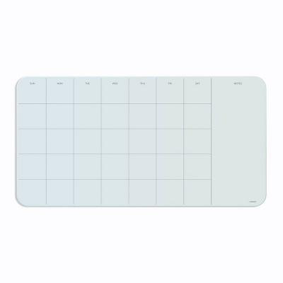 """U Brands 23""""x12"""" Magnetic Glass Frameless Dry Erase Calendar Board White Frosted Surface"""