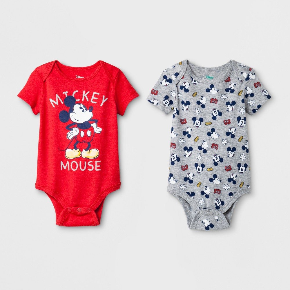 Baby Boys' Mickey Mouse 2pc Short Sleeve Bodysuit Set - Red/Gray 12M
