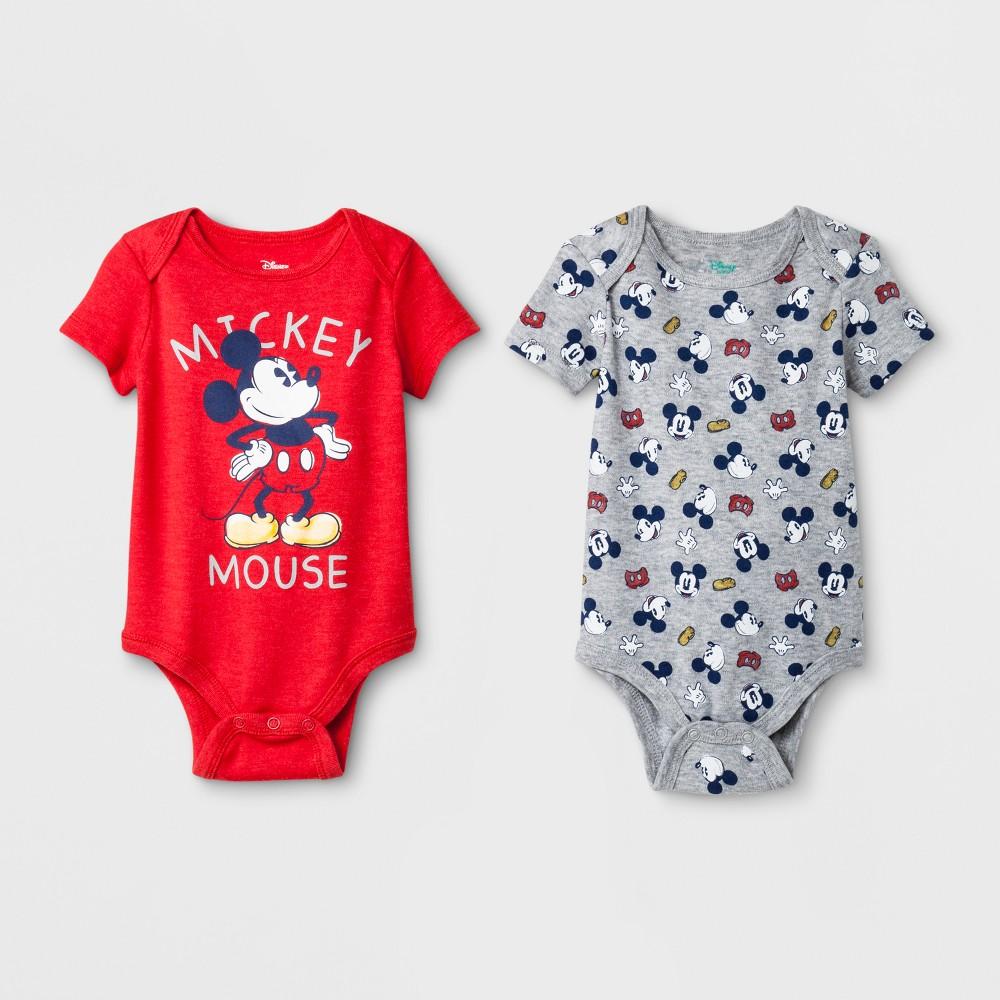 Baby Boys' Mickey Mouse 2pc Short Sleeve Bodysuit Set - Red/Gray Newborn