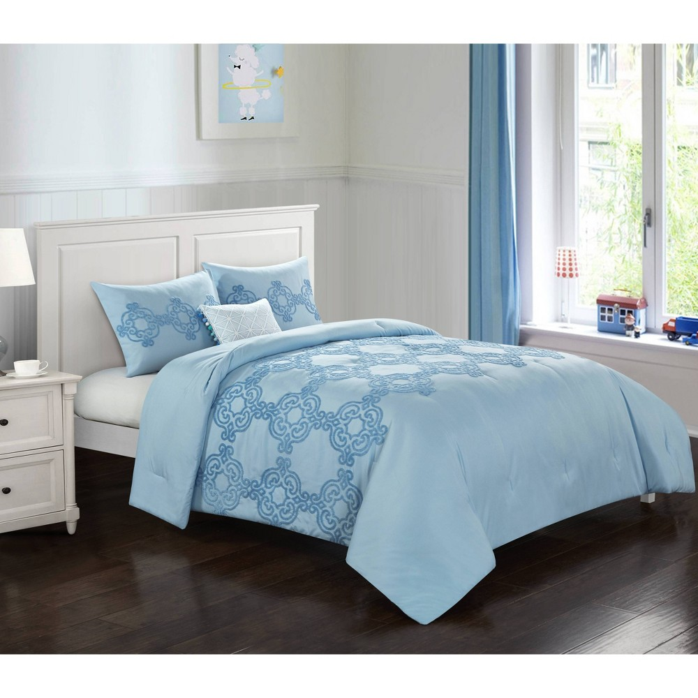 Image of Full/Queen Chain Link Comforter Set Blue - Heritage Club