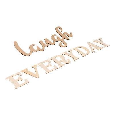 Genie Crafts Laugh Everyday, Unfinished Wood Letters Cutout Inspirational Quotes Wall Decor