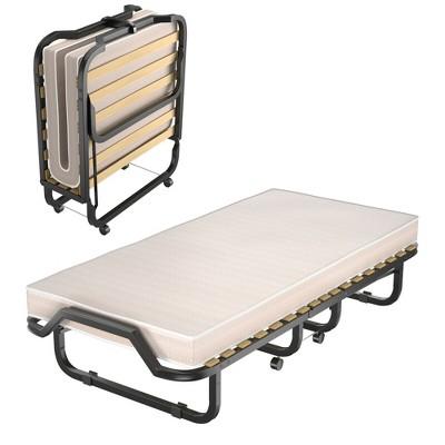 Costway Folding Rollaway Bed Extra Guest W/ Memory Foam Mattress