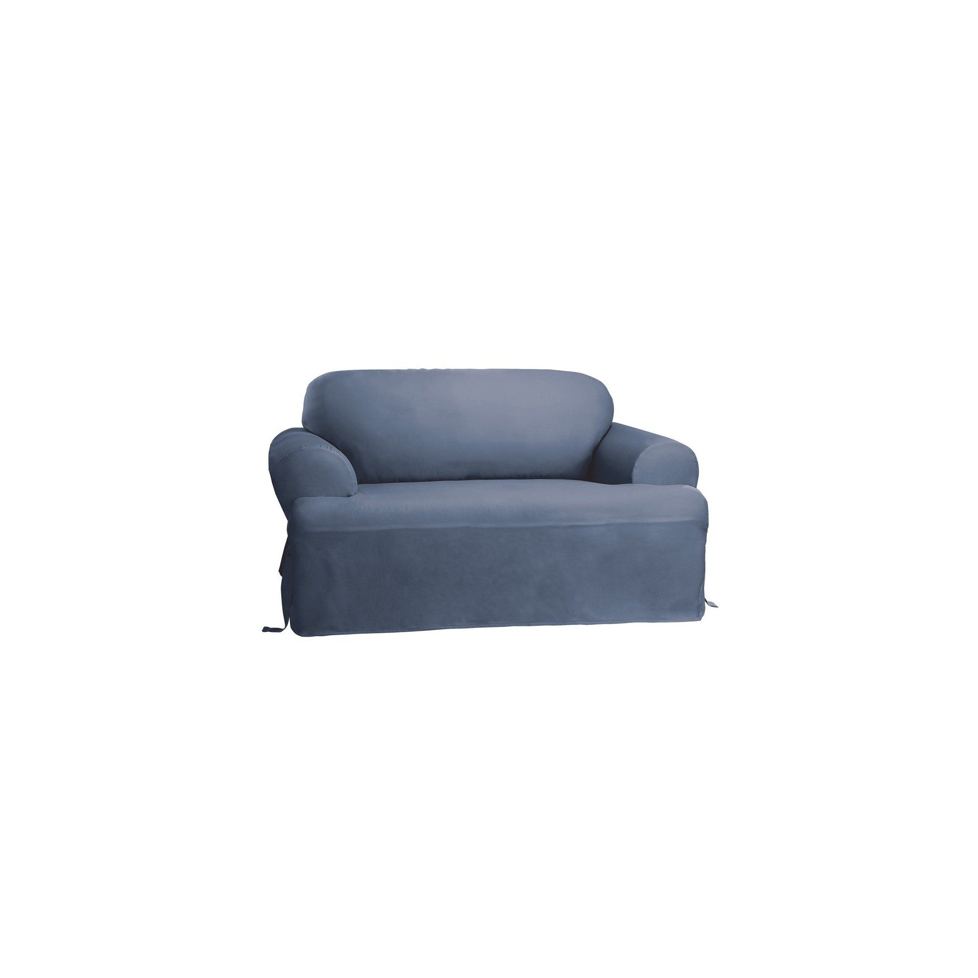 Cotton Duck Tcushion Loveseat Slipcover - Sure Fit, Blue Grey