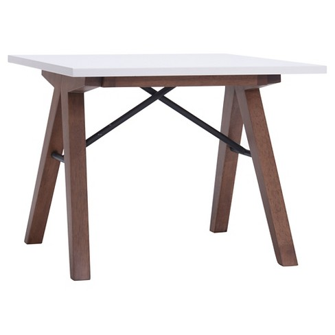 Saw Horse Style Mid Century Modern 24 Square End Table Walnut Black White Zm Home