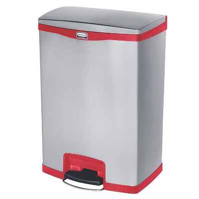 Rubbermaid Slim Jim 24 Gallon Stainless Steel Front Step On Kitchen Bathroom Bedroom Trash Can Wastebasket, Red