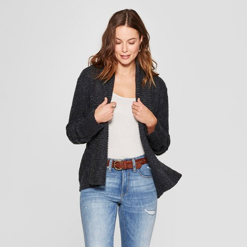 Women's Long Sleeve Cable Shawl Cardigan - Knox Rose™ Navy L - image 1 of 2