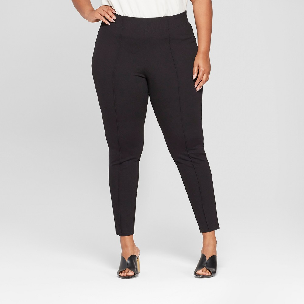 Women 39 S Plus Size Mid Rise Pull On Ponte Pants With Comfort Waistband Ava 38 Viv 8482 Black 2x
