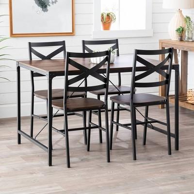 5pc Angle Iron Dining Set With Back Chairs - Saracina Home : Target