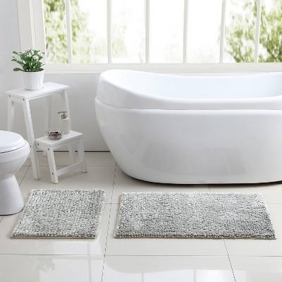 2pc Shiny Chenille Noodle Bath Rug Set Gray - VCNY