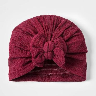 Toddler Girls' Knit Turban Hat - Cat & Jack™ Burgundy 6-12M