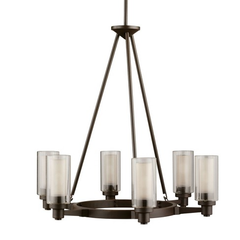 """Kichler 2344 Circolo 6 Light 26"""" Wide Chandelier with Dual Cylinder Shades - image 1 of 3"""