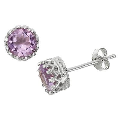 6mm Round-cut Amethyst Crown Earrings in Sterling Silver