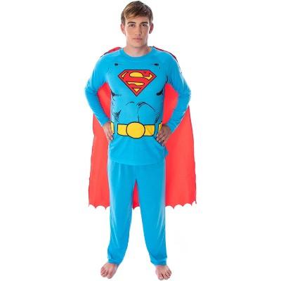DC Comics Men's Superman Costume Raglan Shirt And Pants Pajama Set with Cape