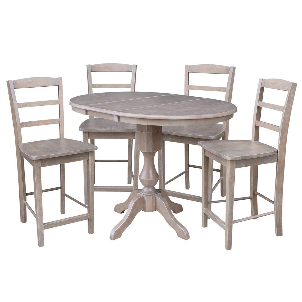 36 Frank Counter Height Extension Dining Table and Two Stools Taupe (Brown) - International Concepts