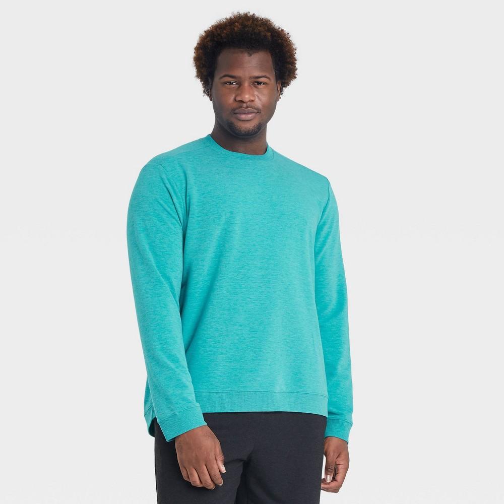 Men 39 S Soft Gym Crewneck Sweatshirt All In Motion 8482 Turquoise Xl