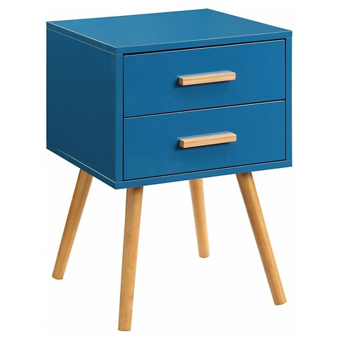 Oslo 2 Drawer End Table - Blue - Convenience Concepts - image 1 of 3
