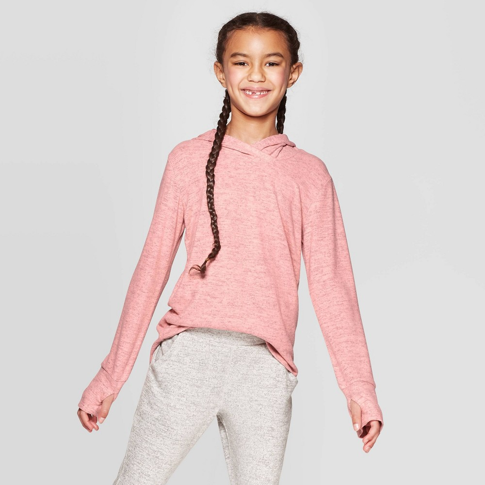 Girls' Cozy Long Sleeve Hoodie - C9 Champion Coral Pink L