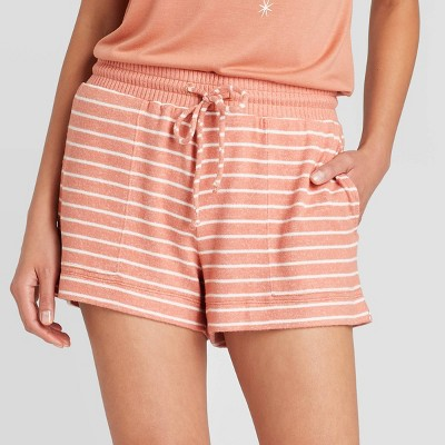 Women's Striped Perfectly Cozy Lounge Pajama Shorts - Stars Above™ Rust M