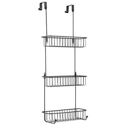 mDesign Metal Over Shower Door Caddy, Bathroom Storage Organizer