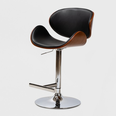 Tremendous Ambrosio Faux Leather Upholstered Chrome Finished Metal Adjustable Swivel Bar Stool Black Baxtonstudio Theyellowbook Wood Chair Design Ideas Theyellowbookinfo