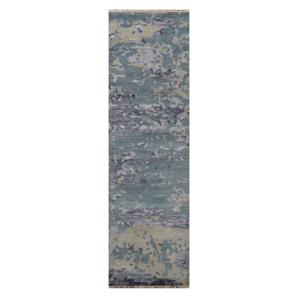 2'3X8' Splatter Knotted Runner Blue - Momeni, Green