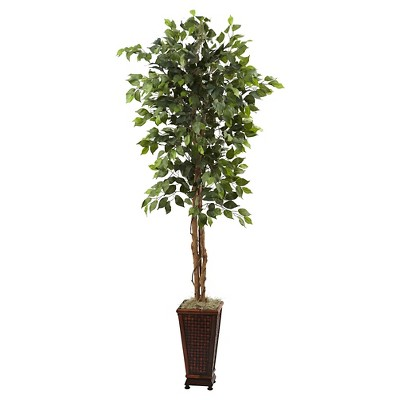 Nearly Natural Ficus with Decorative Planter Green (6.5 )