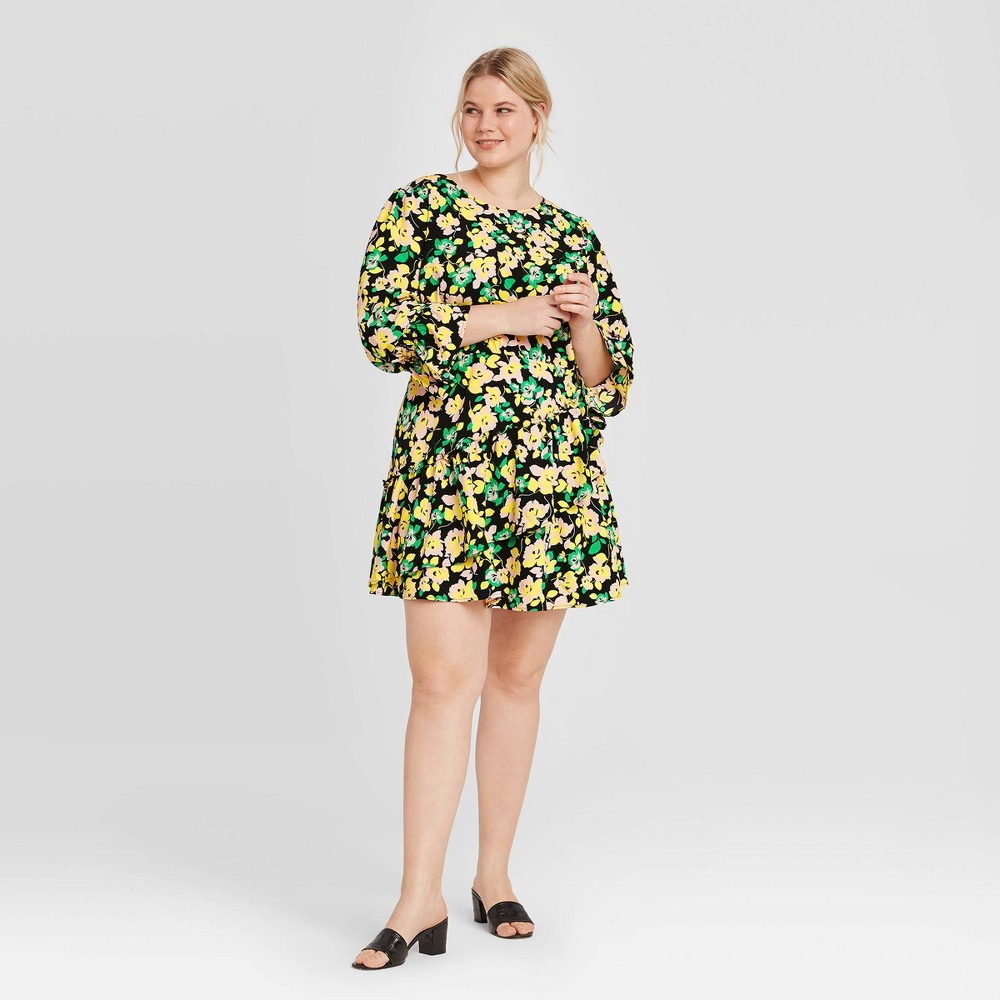 Women's Plus Size Floral Print Long Sleeve Dress - Who What Wear Green 1X was $34.99 now $24.49 (30.0% off)