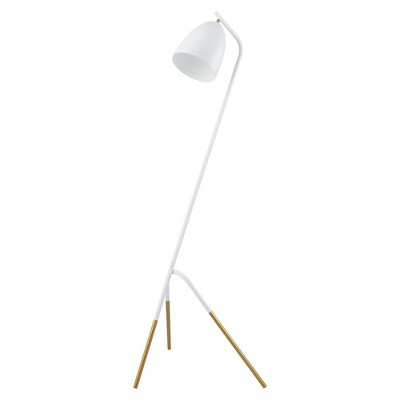 1-Light Westlinton Floor Lamp with Metal Leaf Finish Shade White/Gold - EGLO