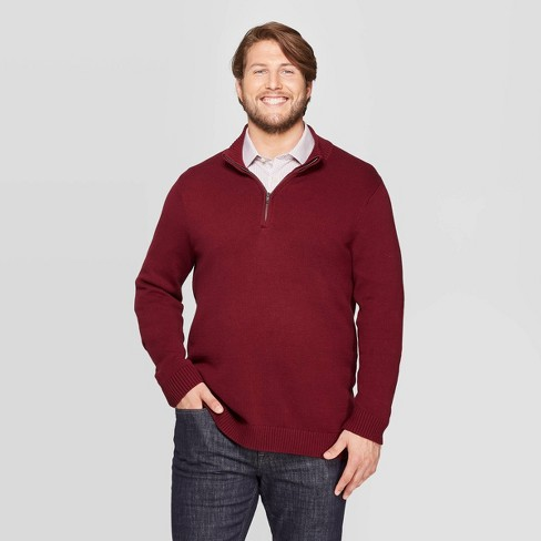 Men's Big & Tall Casual Fit Turtleneck 1/4 Zip Long Sleeve Pullover Sweater - Goodfellow & Co™ - image 1 of 3