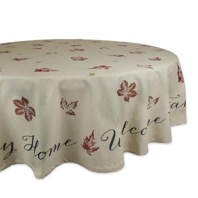 70 R Rustic Leaves Print Tablecloth Tan - Design Imports