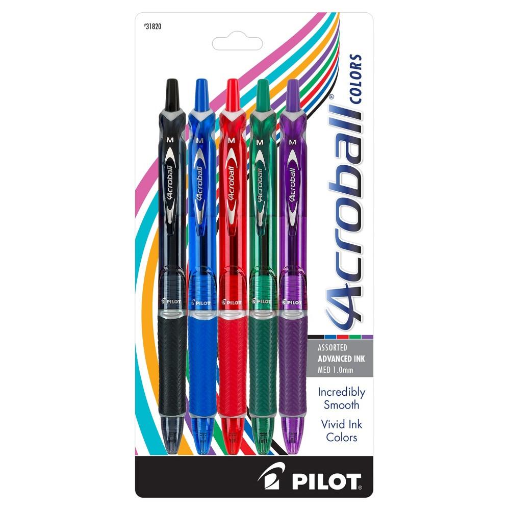 Pilot Acroball Pens Medium Tip 5ct, Black