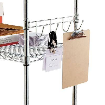 "Alera Hook Bars For Wire Shelving Four Hooks 18"" Deep Silver 2 Bars/Pack SW59HB418SR"