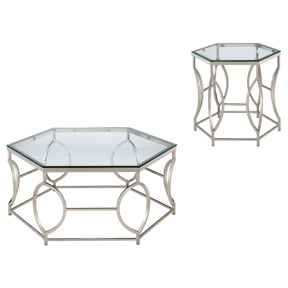 Image of 2pc Elise Occasional Table Set Chrome - ioHOMES