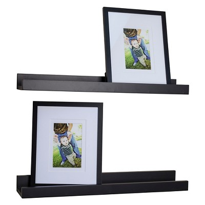 Danya B. Ledge Shelves with 2 Photo Frames – Set of 2 – Black