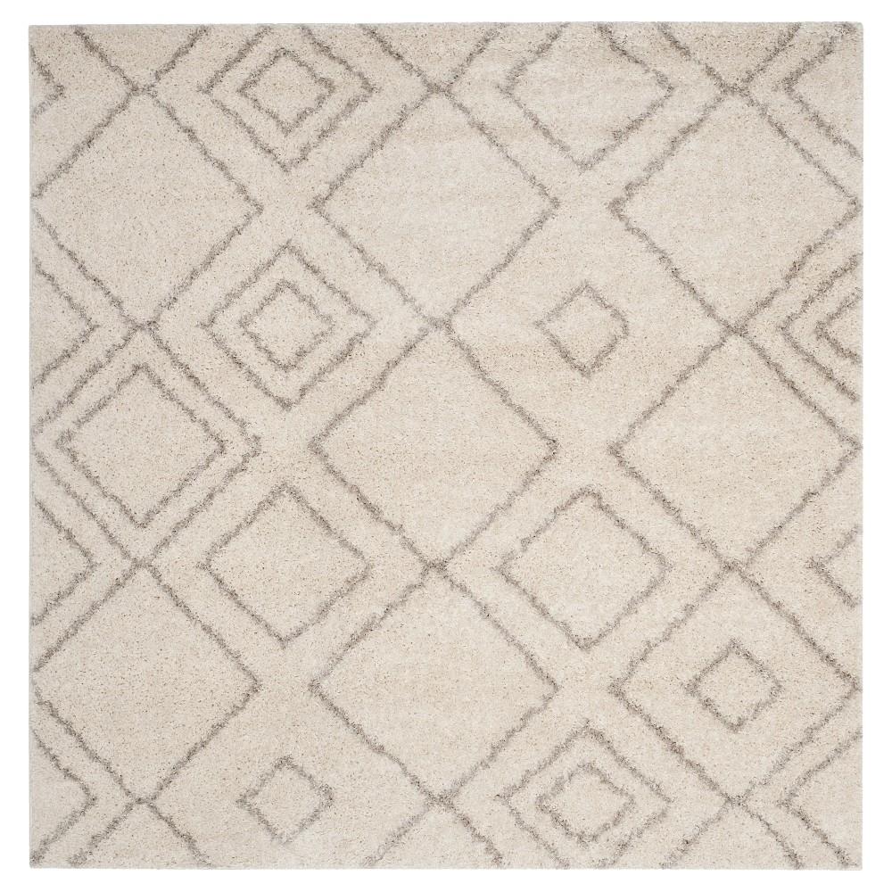 Ivory/Beige Abstract Shag/Flokati Loomed Square Area Rug - (6'7