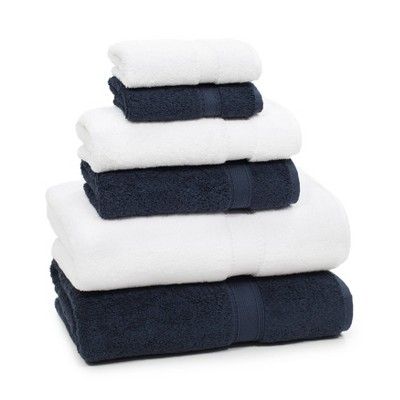 6pc Sinemis Turkish Bath Towel Set Navy/White - Linum Home Textiles