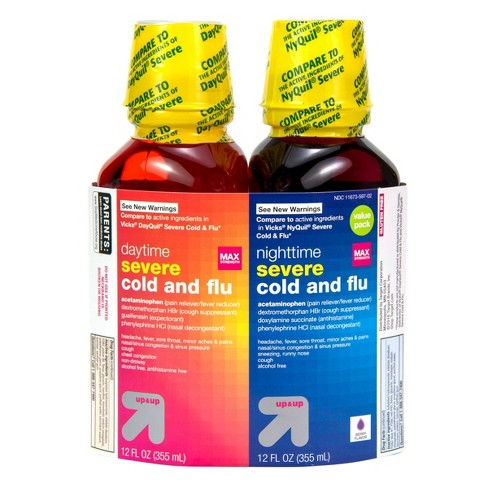 Day/Night Severe Cold & Flu Relief Liquid - Berry - 12 fl oz/2ct - Up&Up™ - image 1 of 4