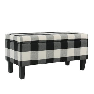 Large Decorative Storage Bench Black Plaid - Homepop