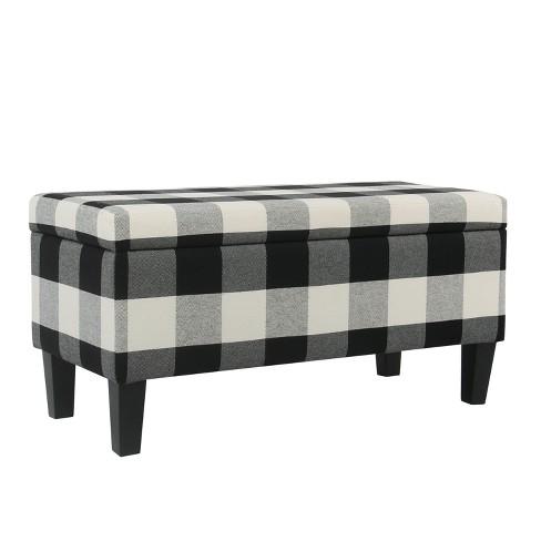 Large Decorative Storage Bench Black Plaid Homepop Target