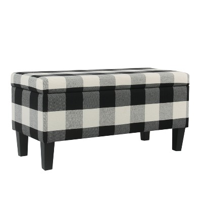 Large Decorative Storage Bench Black Plaid   Homepop