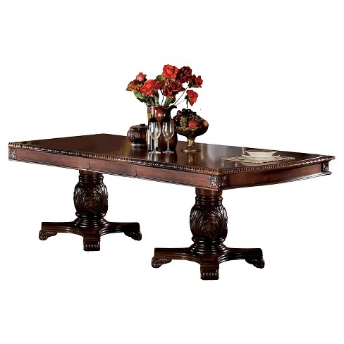 Chateau De Ville Dining Table with Double Pedestal Wood/Cherry - Acme