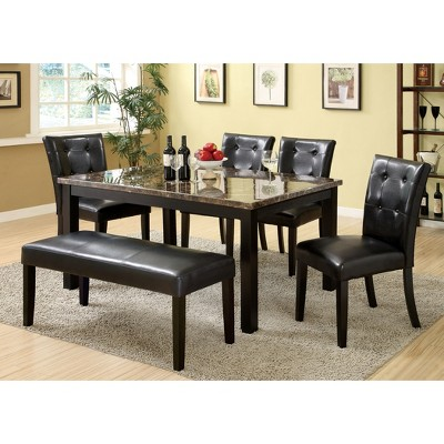 Superbe IoHomes Leatherette Padded Dining Bench Wood/Black : Target
